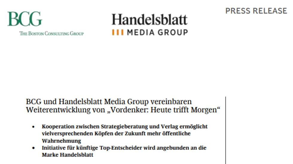 """BCG und Handelsblatt Media Group vereinbaren Weiterentwicklung von """"Vordenker: Heute trifft Morgen"""